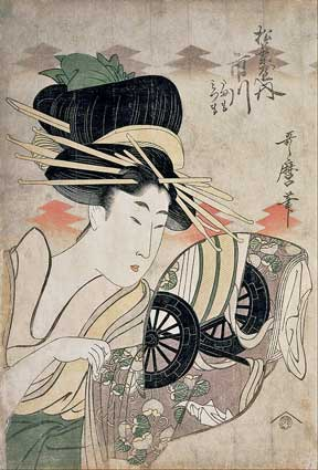 Wood block print The Courtesan Ichikawa of the Matsuba Establishment by Utamaro